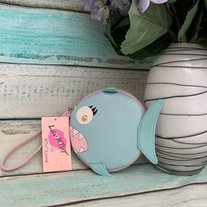 Betsy Johnson Teal Shark Coin Purse Wristlet Pouch